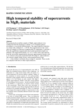 High temporal stability of supercurrents in MgB materials 2