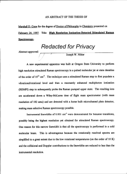 Redacted for Privacy Title: High Resolution Ionization-Detected Stimulated Raman February 24. 1997.