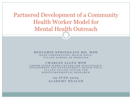 Partnered Development of a Community Health Worker Model for Mental Health Outreach
