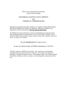 MATERIALS SAFETY DATA SHEETS and CHEMICAL EMERGENCIES