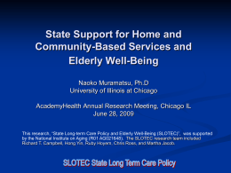 State Support for Home and Community-Based Services and Elderly Well-Being