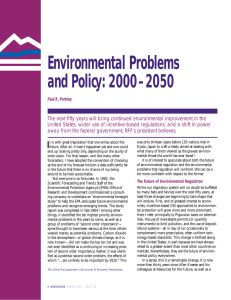 Environmental Problems and Policy: 2000–2050