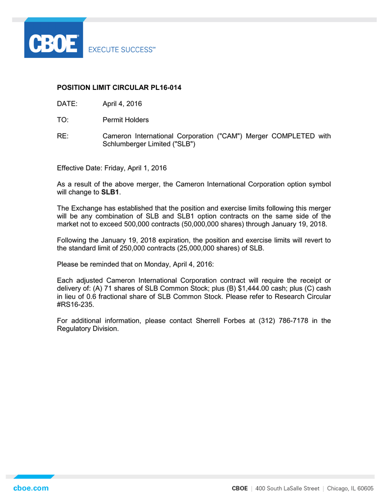 POSITION LIMIT CIRCULAR PL16-014 DATE: April 4, 2016