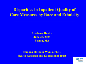 Disparities in Inpatient Quality of Care Measures by Race and Ethnicity ____________________________