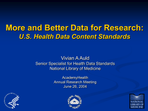 More and Better Data for Research: U.S. Health Data Content Standards