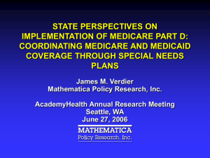 STATE PERSPECTIVES ON IMPLEMENTATION OF MEDICARE PART D: COORDINATING MEDICARE AND MEDICAID