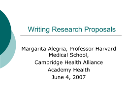Writing Research Proposals