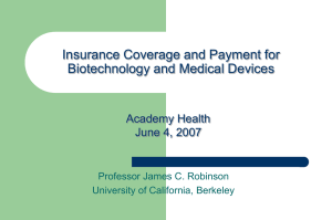 Insurance Coverage and Payment for Biotechnology and Medical Devices Academy Health