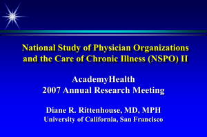National Study of Physician Organizations AcademyHealth 2007 Annual Research Meeting