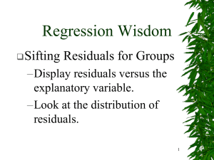 Regression Wisdom Sifting Residuals for Groups – Display residuals versus the