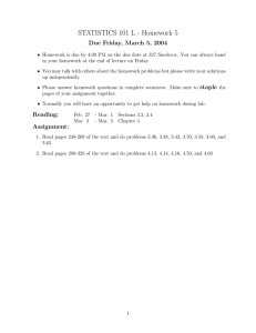 STATISTICS 101 L - Homework 5 Due Friday, March 5, 2004