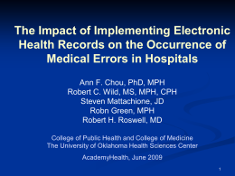 The Impact of Implementing Electronic Health Records on the Occurrence of