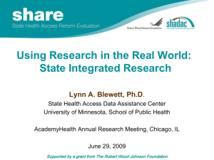 Using Research in the Real World: State Integrated Research
