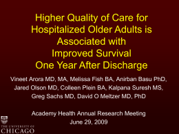 Higher Quality of Care for Hospitalized Older Adults is Associated with Improved Survival