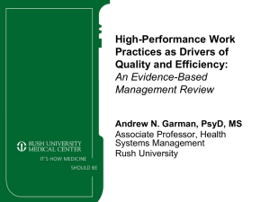 High-Performance Work Practices as Drivers of Quality and Efficiency: An Evidence-Based