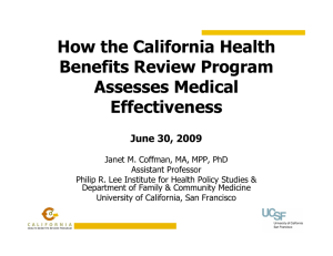 How the California Health Benefits Review Program Assesses Medical Effectiveness