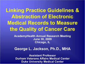 Linking Practice Guidelines & Abstraction of Electronic Medical Records to Measure