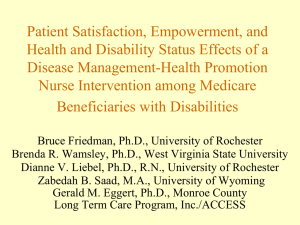 Patient Satisfaction, Empowerment, and Health and Disability Status Effects of a