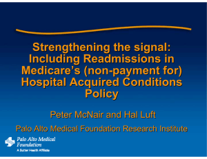 Strengthening the signal: Including Readmissions in Medicare '