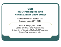 CER MCO Principles and Natalizumab case study AcademyHealth, Boston MA