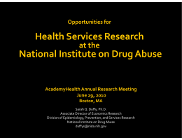 Health Services Research  National Institute on Drug Abuse