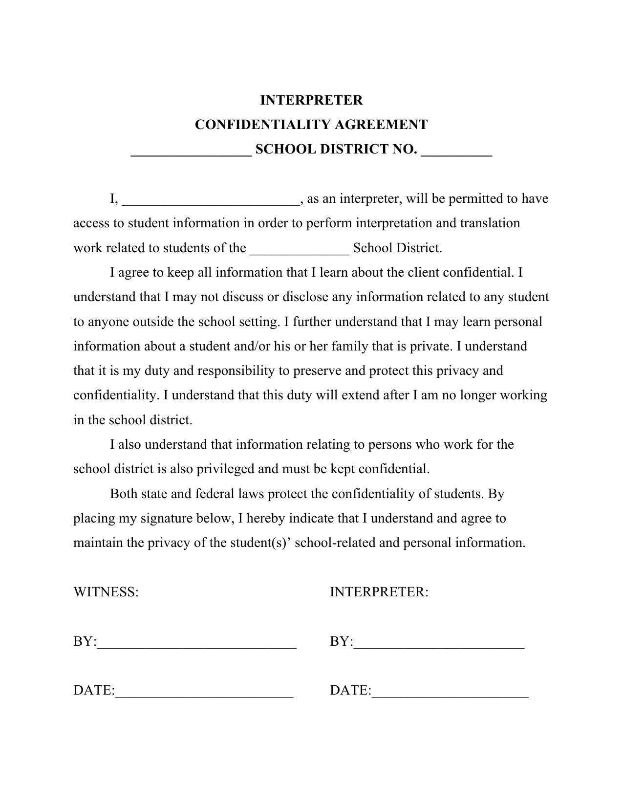 Interpreter Confidentiality Agreement School District No
