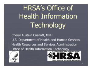 HRSA's Office of Health Information Technology