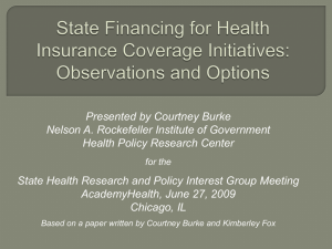 How States Are Financing Health Coverage Initiatives