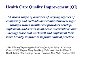 Health Care Quality Improvement (QI) Q y p