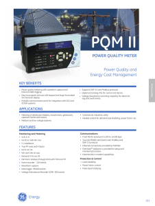PQM II Power QualIty Meter Power Quality and Energy Cost Management