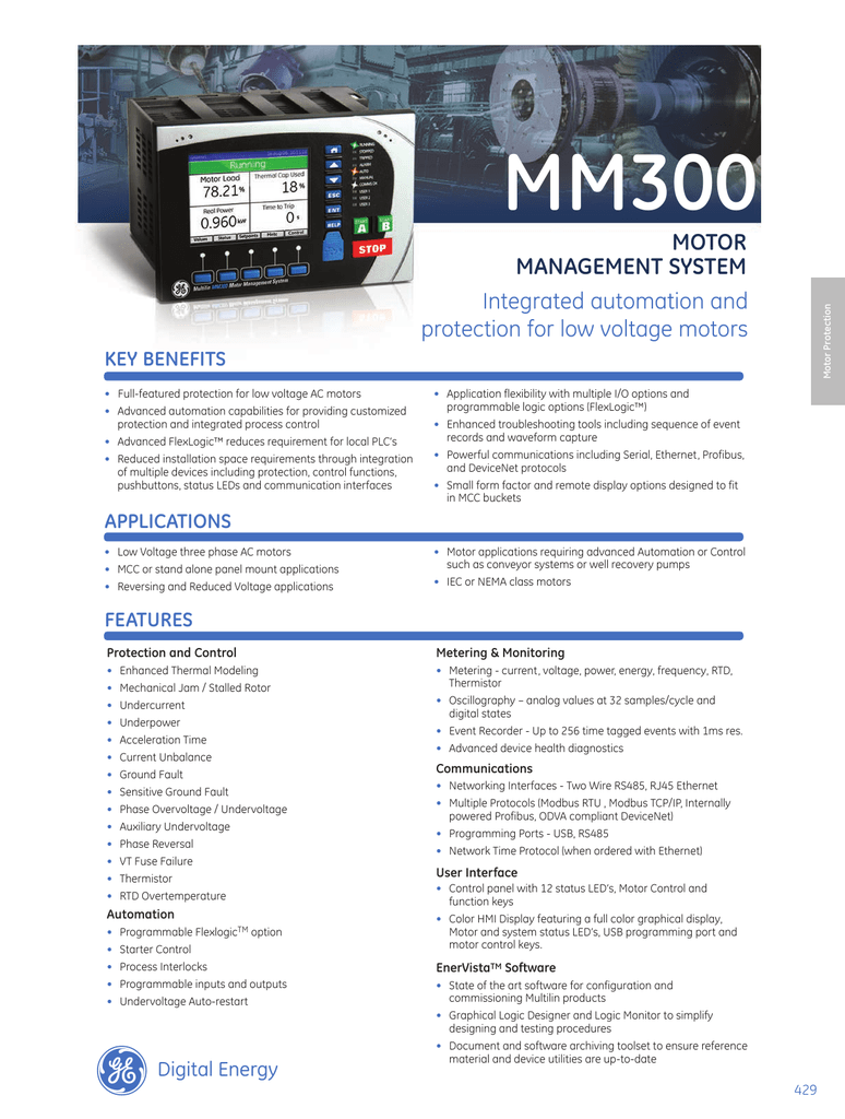 Mm300 motor management system integrated automation and for Motor ground fault protection