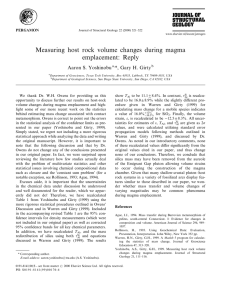 Measuring host rock volume changes during magma emplacement: Reply Aaron S. Yoshinobu
