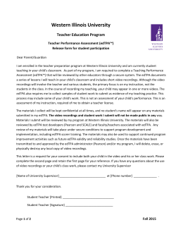 Western Illinois University Teacher Education Program Teacher Performance Assessment (edTPA™)