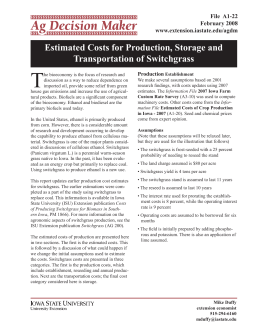 T Estimated Costs for Production, Storage and Transportation of Switchgrass File  A1-22