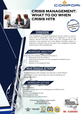 CRISIS MANAGEMENT: WHAT TO DO WHEN CRISIS HITS