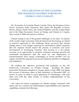 DECLARATION OF THE LEADERS THE MAJOR ECONOMIES FORUM ON ENERGY AND CLIMATE