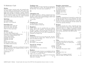 Vi Reference Card Yanking text