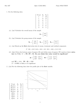 Stat 407 Quiz 3 (Fall 2001) Name SOLUTION 1. For the following data: