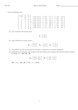 Stat 407 Quiz 3 - SOLUTION Name 1. For the following data: