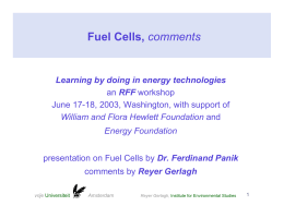 Fuel Cells, Learning by doing in energy technologies RFF