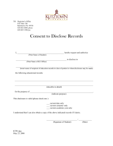 Consent to Disclose Records