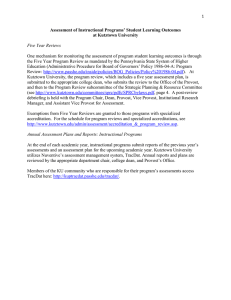Assessment of Instructional Programs' Student Learning Outcomes at Kutztown University