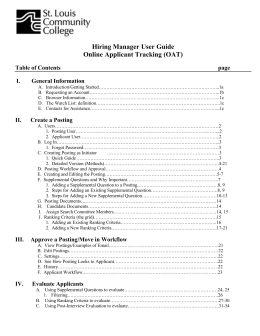 Hiring Manager User Guide Online Applicant Tracking (OAT) Table of Contents