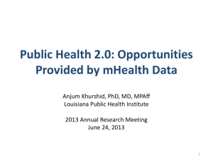 Public Health 2.0: Opportunities  Provided by mHealth Data