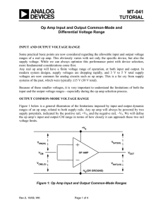 MT-041 TUTORIAL  Op Amp Input and Output Common-Mode and