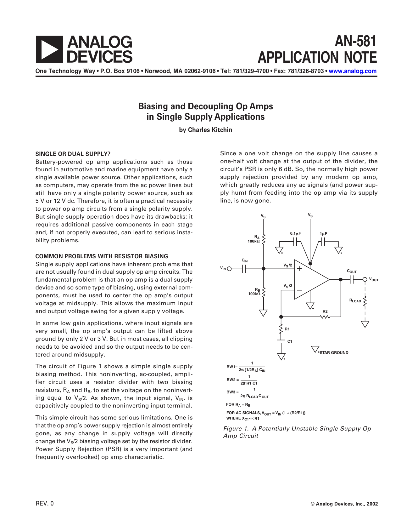 A An 581 Application Note Biasing And Decoupling Op Amps Types Of Amp Circuits