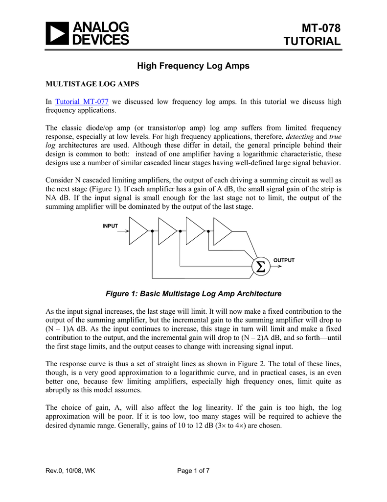 Mt 078 Tutorial High Frequency Log Amps Fast Logarithmic Amplifier