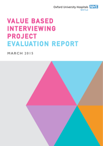EVALUATION REPORT VALUE BASED INTERVIEWING