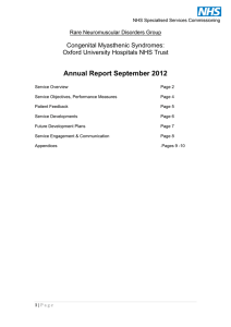 Annual Report September 2012 Congenital Myasthenic Syndromes: Oxford University Hospitals NHS Trust