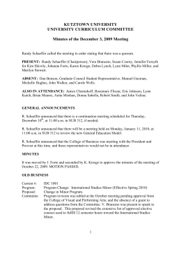 KUTZTOWN UNIVERSITY UNIVERSITY CURRICULUM COMMITTEE  Minutes of the December 3, 2009 Meeting